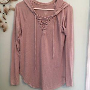 pink pulsh hooded shirt